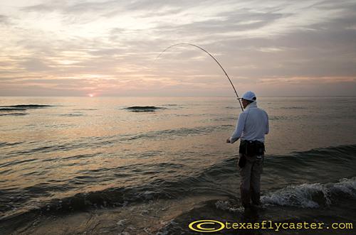 Catching fish along the South Padre Island National Seashore