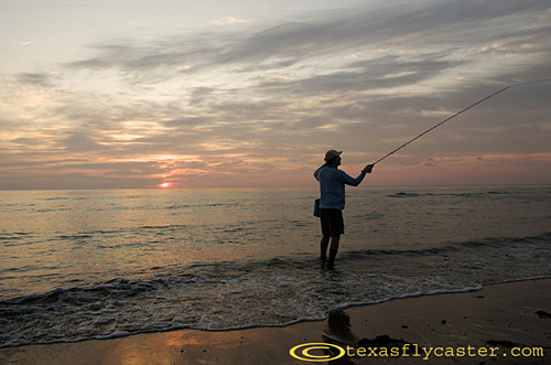 Fly fishing along the the Padre Island National Seashore
