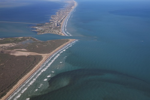 Aerial of red tide at South Padre Island, Texas.