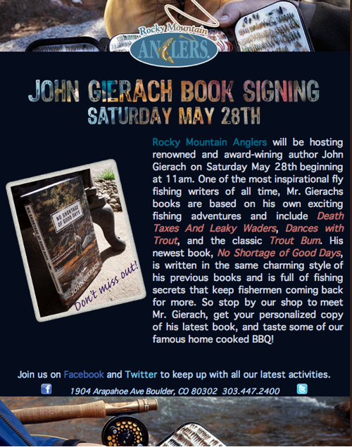 John Gierach Book Signing at Rocky Mountain Anglers Boulder Colorado