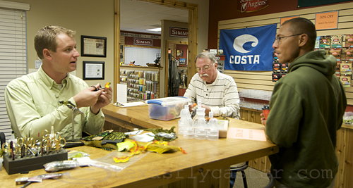 Fly tying starts at the front register at Living Waters Fly Shop in Round Rock, Texas.
