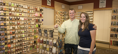 Chris and Emily inside their fly shop - Living Waters in Round Rock, Texas.