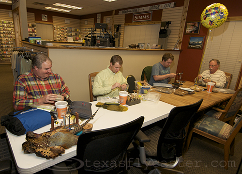 Thursday night fly tying at Living Waters Fly Shop, Round Rock, Texas.