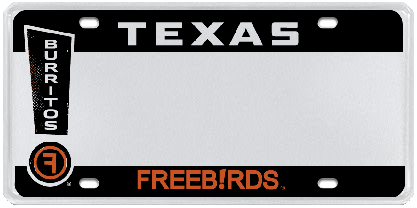 Freebirds License Plate in State of Texas