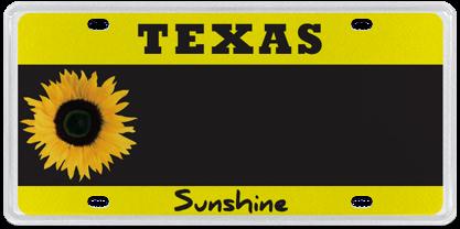 Sunflower Sunshine Texas License Plate