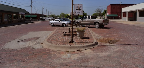 Brick streets of Bowie, Texas.