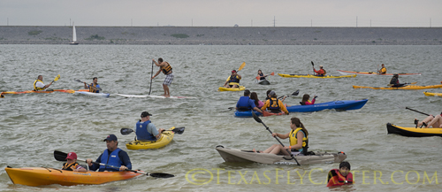 masses of kayakers on Lake Grapevine Texas