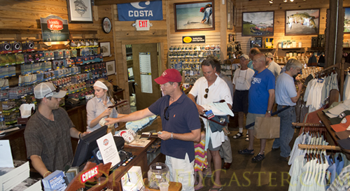 crowds wait in line to get to the register at Tailwaters