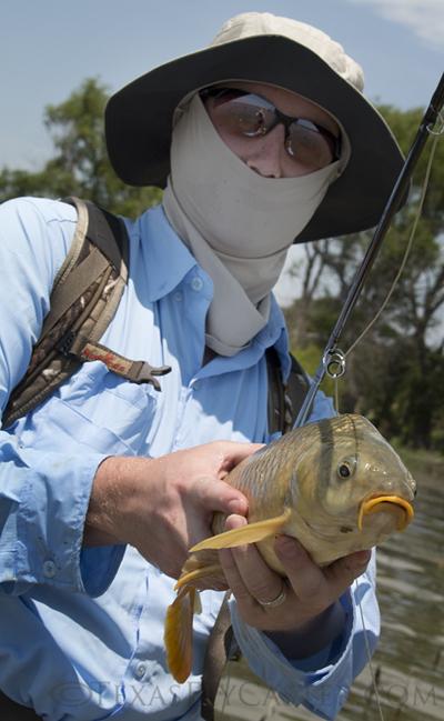 Ryan and carp on Lake Ray Roberts Texas caught on Fly Rod