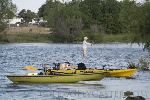Kayak fly fishing on Lake Ray Roberts Texas