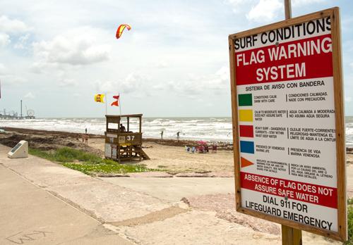 Red Flag on Galveston Beach