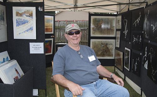 Jim Koukl and his artwork at Edom Festival of the Arts