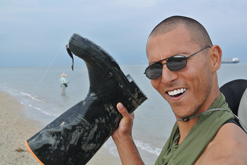 Salas gets the boot while fishing with a gulp near Sea Wolf Park - Courtesy LK
