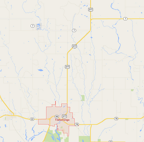 Tishomingo and Blue River Map - Wide