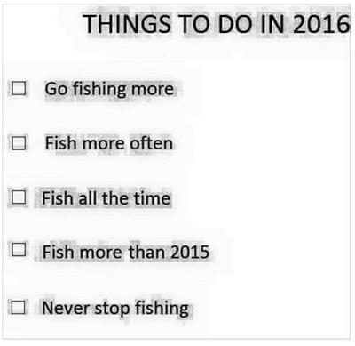 Fishing to do list 2016