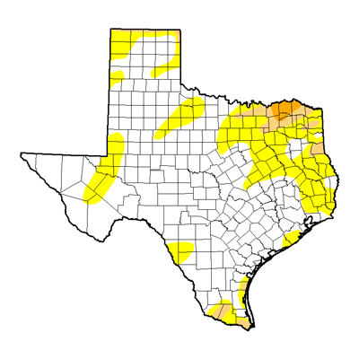 Texas rainfall drought map