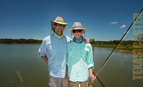 Father and Son take a skiff break