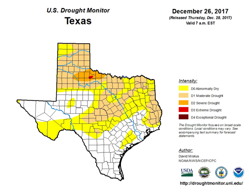 End 2017 Texas Drought Map