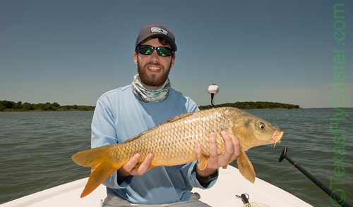 #flyfishing #TexasSkiff Carp on fly Ray Roberts TX